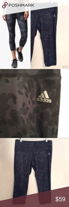 """ADIDASCLIMALITE BLACK & GRAY CAMO CAPRISNWOT Adidas Climalite size Large camo print capris. Covershot pro shot is a different pattern. 2 shades of gray and black. New without tags. Before stretching and laying flat, waist is 16.5"""". Inseam is 20"""". Poly 89% & spandex 11%. Comfortable waist. Machine wash. SUGGESTED USER, FAST SHIPPER adidas Pants Capris"""