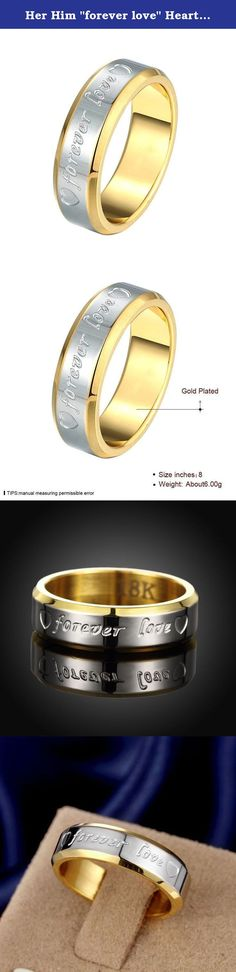 "Her Him ""forever love"" Heart Gold Silver Band Ring Promise Ring Valentine Love Couples Wedding Engagement. It's a perfect gifts idea. Gift box is free provided. It's super suitable accessory for party, fashion show or other activities. Our name is Focus Jewel, choosing us is choosing high quality in best price. High Quality in Titanium Steel, Shiny looking in Great Touching Feeling; Comfort Fit and Good Price; Well Polished Finish, It will never Get Fade or Tarnished. Please allow slight..."