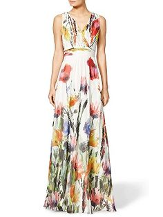 Shop Multicolor Floral Print V-neck High Waist Maxi Dress from choies.com .Free shipping Worldwide.$28.99