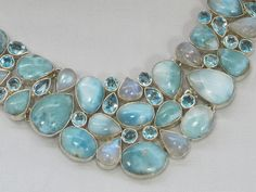 Large Larimar and Moonstone Collar Necklace with Blue Topaz