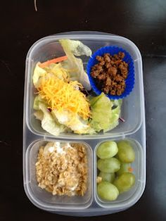 The Family Lunch Box : Today for our #lunches we used #leftovers! Taco meat, salad, grapes, Chobani Greek yogurt with granola!