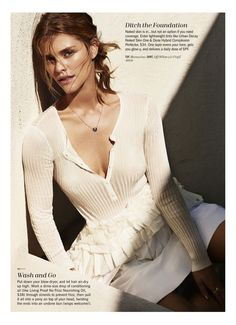 Nina Agdal wears Blumarine top with Off-White skirt