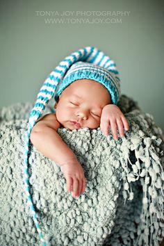 ON SALE Knit Pixie Hat -Aqua, White -Newborn Baby Infant   Boy Girl Unigender Cute Baby Gift or Photo Prop. $20.00, via Etsy.