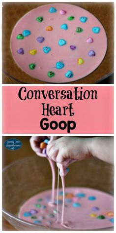 Playing with Conversation Heart Goop is a fun, tactile sensory activity that your children are sure to love.