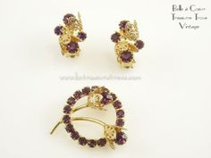 Pin & Earrings Set Purple and Goldtone Floral by bctreasuretrove, $16.00