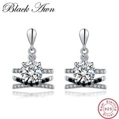 192e0aae176 [BLACK AWN] 3.9g 925 Sterling Silver Fine Jewelry Trendy Black Spinel  Engagement Earrings