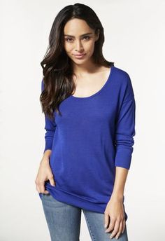 COWL NECK TUNIC Pullover in jewel blue