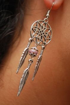 Dream catcher earrings Silver round earrings Feather by Estibela