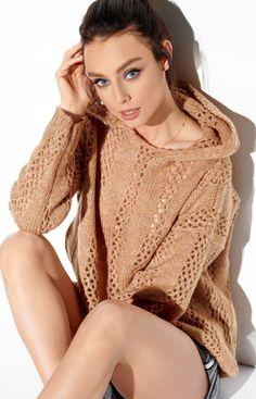 Lemoniade Ażurowy sweterek z kapturem karmelowy LS283 Pullover, Dresses, Fashion, Gowns, Moda, Fashion Styles, Sweater, Dress, Vestidos