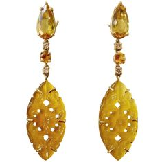 Golden Beryl Yellow Sapphire Yellow Onyx Diamond Gold Dangle Earrings