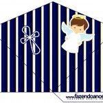 Cone Guloseimas 4 lados Batizado Menino Azul Marinho e Branco