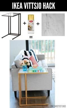 One of the most chic IKEA hacks ever!! Turn the IKEA Vittsjo into a gorgeous gold and marble side table using just spray paint and marble adhesive paper. It's going to glam up your living room for sure. One of my favourite DIY projects! Click over for the full tutorial and source list.