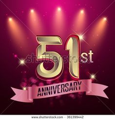51st Anniversary, Party poster, banner or invitation - background glowing element. Vector Illustration. - stock vector