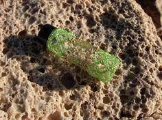 Cathedral Beaded Glass Bottle in Green Lined by BlackstreaksBeads