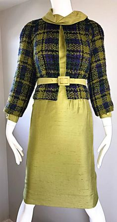 1960s I Magnin Chartreuse Green Silk Shantung 3 Piece Dress and Jacket Ensemble