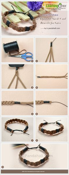 How to Make an Adjustable Suede Cord Bracelet for Guys