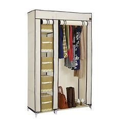 VonHaus Double Canvas Wardrobe Clothes Cupboard Hanging Rail Storage - 6 Shelves - Beige - 110 x 175 x 45cm VonHaus http://www.amazon.co.uk/dp/B00TOE71XC/ref=cm_sw_r_pi_dp_1Ysewb0NGKCCB
