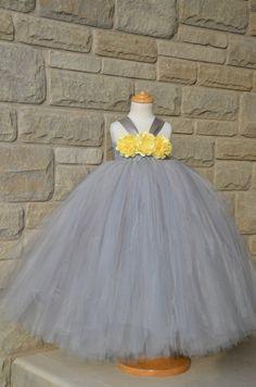 Flower Girls' Dress!  Silver/Grey Empire Waist Tutu Dress with Yellow Satin and Mesh Flowers