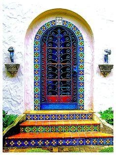 Lovely tiles entrance door at McNay Art Museum - San Antonio, Texas