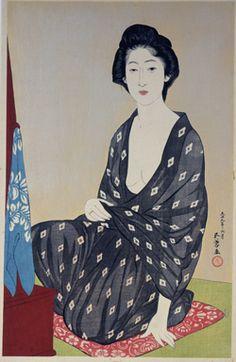 Goyo Hashiguchi  Woman in summer dress, woodblock print