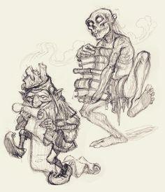 Planescape gnome and undead servant, art by Tony DiTerlizzi