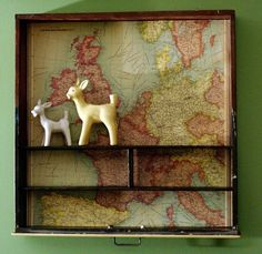 Repurpose drawers with organizing inserts into quirky display shelves