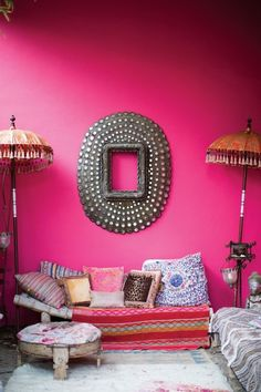 Moderation be Damned: 12 Times Crazy Colors Looked Crazy Good Interiors with Really Bold, Bright Colors Deco Boheme Chic, Deco Rose, Stoff Design, Interior And Exterior, Interior Design, Crazy Colour, Moroccan Decor, Moroccan Style, Pink Walls