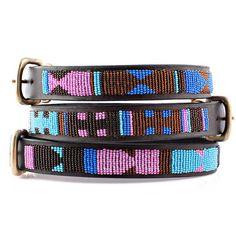 Malindi African Beaded Dog Collar by Kenyan Collection   Leather Dog Collars at GlamourMutt