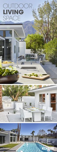 An inviting and well-designed outdoor cooking and dining space. Taking advantage of the California climate, this home seamlessly blends interior and exterior living spaces – see the full tour of this impeccably beautiful Palm Springs home.