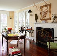 Any space can be a workspace with a beautiful antique table | Traditional Home®...
