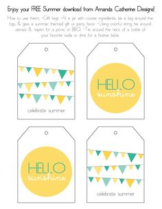 Free printable happy summer gift tags - end of school year - links ...