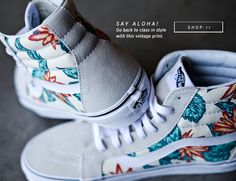 7b8e5ed3cb What s better than vintage Aloha print and a pair of Vans SK8-HI Reissue  shoes