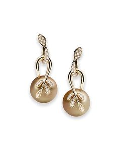 Eden Earrings - Golden South Sea Pearls and diamonds in 18ct yellow gold by Mikimoto