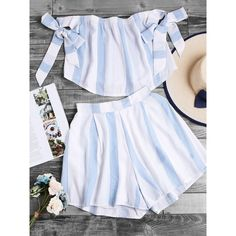 Bardot Bow Tie Wide Striped Crop Top With Shorts (270 ARS) ❤ liked on Polyvore featuring tops, blue, blue top, blue off the shoulder top, off the shoulder tops, sleeveless crop top and blue crop top