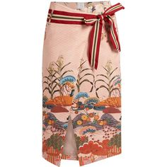 Stella Jean Numerosa Japanese-print cotton pencil skirt found on Polyvore featuring skirts, pink print, patterned pencil skirt, wrap pencil skirt, polka dot skirt, wrap around skirt and pencil skirt
