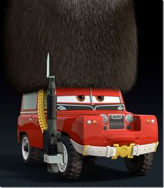 Series Land Rover as a palace guard in Pixar's Cars 2 movie.