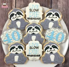 Sloth cookies, live slow die whenever party, birthday, live slow die… Birthday Cookies, Cupcake Cookies, 40th Birthday, Birthday Party Themes, Cupcakes, Wilton Cake Decorating, Cookie Decorating, Sloth Cakes, Cake Decorating For Beginners