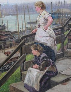 Buy Robert Jobling - Fishergirls, North Shields and other Victorian paintings and watercolours at James Alder Fine Art North Shields, Victorian Paintings, North East England, My Heritage, Old Photos, Food Art, Coast, Around The Worlds, Mussels