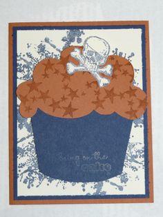 Skull cupcake birthday card
