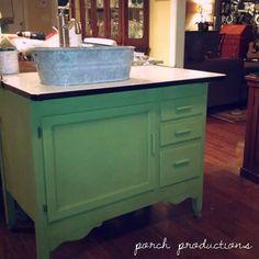 Bathroom vanity from a converted Hoosier cabinet
