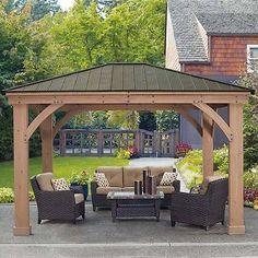 Wooden Patio Pergola Gazebo Garden Aluminium Roof Sun Shade Rain Shelter Tent Uk