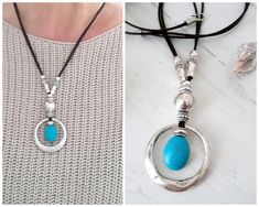 Excited to share the latest addition to my shop: Silver circle pendant with Turquoise stone Women's jewelry Boho Leather necklace Turquoise Blue Choker Gift for her Statement necklace Solid Silver Bracelets, Silver Bead Necklace, Leather Necklace, Boho Necklace, Stacked Necklaces, Heart Necklaces, Unique Jewelry, Women's Jewelry, Blue Choker
