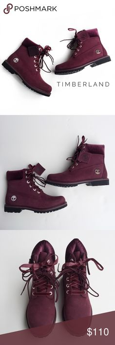 • timberland boots • these are brand new in excellent condition with no signs of wear. these have never been worn. box is not included. there are two sets of laces that will come with these. these were bought at a sample sale. the coloring is maroon/burgundy and the ankle part is velvet. these are the 6inch premium boot. please reference to the timberland website for help with sizing. from my experience timberlands generally run big so most of the time it's recommended to go at least a half…