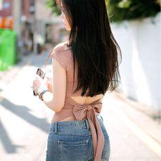 2016 coréenne élégant Sexy Back arc recadrée T Shirt femmes coton à manches courtes T - Shirt mode sans dossier solide crop top C406