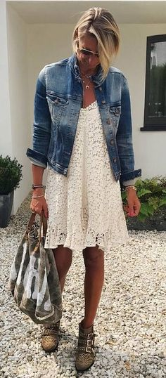 how to wear a denim jacket : bag + white dress + boots