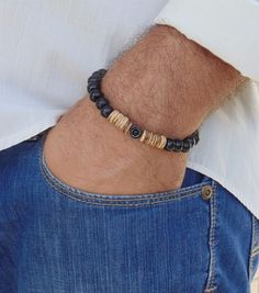 Beaded Bracelet Black and Brown Wood beads Stretch Handmade Surfer Style Men's W #Handmade #Beaded