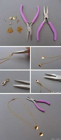 DIY Delicate Layered Necklace from Thanks, I Made It, neat idea would be to use enameled pennies Amber Jewelry, Beaded Jewelry, Diamond Jewelry, Gold Jewelry, Do It Yourself Decoration, Diy Necklace, Layered Necklace, Locket Necklace, Do It Yourself Inspiration