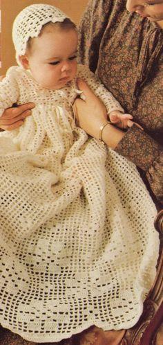 CHRISTENING DRESS & BONNET -  baby crochet pattern- thinking of this...
