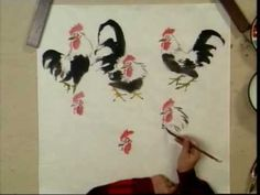 Rooster Chinese Painting Tutorial (Part 5) Heads + Legs of Roosters