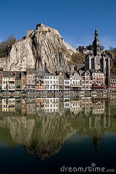 Scenic view of Dinant village viewed over river Meuse, Namur, Belgium.